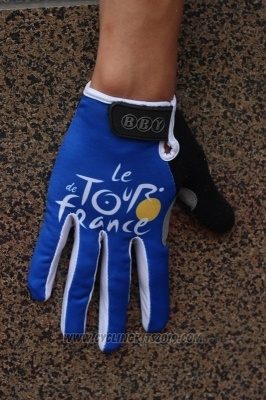 Tour De France Full Finger Gloves Cycling Blue