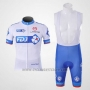 2010 Cycling Jersey FDJ White and Sky Blue Short Sleeve and Bib Short