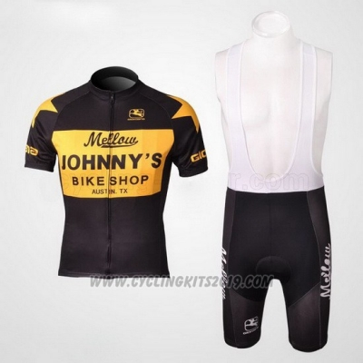2010 Cycling Jersey Johnnys Yellow and Black Short Sleeve and Bib Short