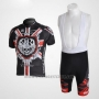 2010 Cycling Jersey Rock Racing Black and Red Short Sleeve and Bib Short