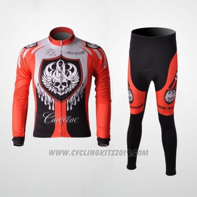 2010 Cycling Jersey Rock Racing Red and Light Blue Long Sleeve and Bib Tight