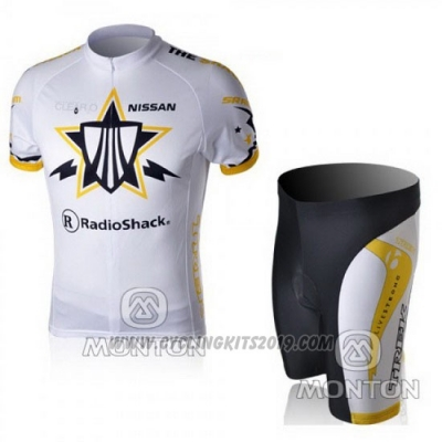 2010 Cycling Jersey Trek White and Yellow Short Sleeve and Bib Short