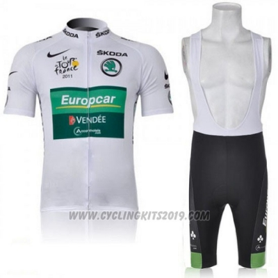 2011 Cycling Jersey Europcar Lider Green and White Short Sleeve and Bib Short