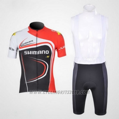 2011 Cycling Jersey Shimano Red and Black Short Sleeve and Bib Short