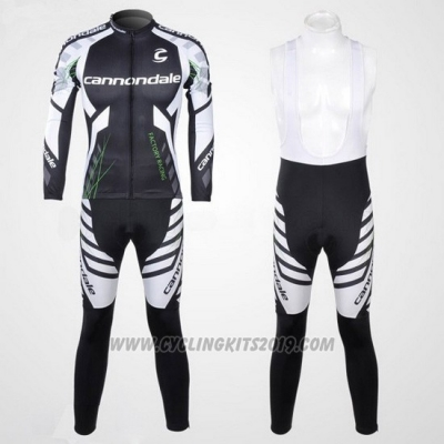 2012 Cycling Jersey Cannondale Black and White Long Sleeve and Bib Tight