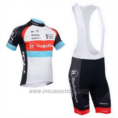 2013 Cycling Jersey Radioshack White and Black Short Sleeve and Bib Short