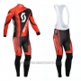 2013 Cycling Jersey Scott Black and Red Long Sleeve and Salopette