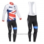 2013 Cycling Jersey Sky Campione Regno Unito White and Nosso Long Sleeve and Bib Tight