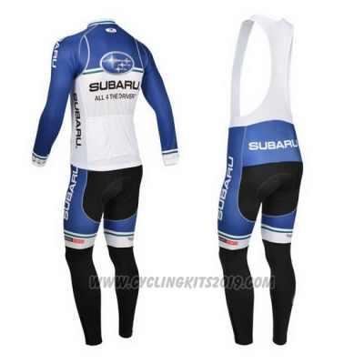 2013 Cycling Jersey Subaru Blue and White Long Sleeve and Bib Tight
