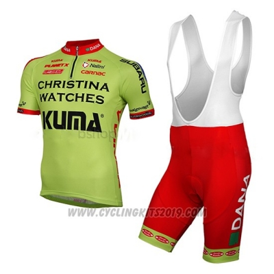 2014 Cycling Jersey Christina Watches Onfone Green Short Sleeve and Bib Short