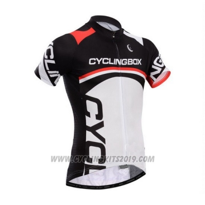 2014 Cycling Jersey Fox Cyclingbox White and Black Short Sleeve and Bib Short