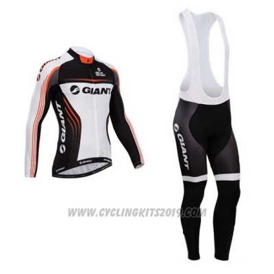 2014 Cycling Jersey Giant White and Black Long Sleeve and Bib Tight