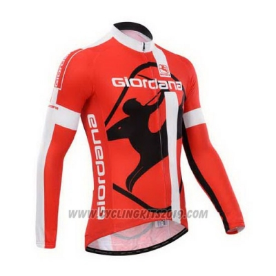 2014 Cycling Jersey Giordana Red and White Long Sleeve and Bib Tight