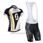 2014 Cycling Jersey Scott Black and White Short Sleeve and Salopette