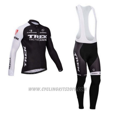 2014 Cycling Jersey Trek Factory Racing Black and White Long Sleeve and Bib Tight