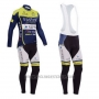 2014 Cycling Jersey Vini Fantini Green and Blue Long Sleeve and Bib Tight