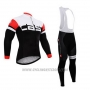 2015 Cycling Jersey Castelli Deep White and Black Long Sleeve and Bib Tight