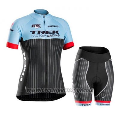 2015 Cycling Jersey Trek Blue and Black Short Sleeve and Bib Short