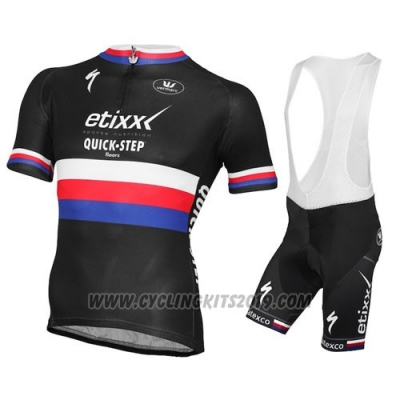 2015 Cycling Jersey UCI Mondo Campione Lider Quick Step Black Short Sleeve and Bib Short