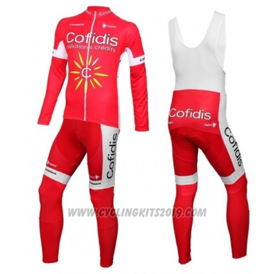 2016 Cycling Jersey Cofidis White and Red Long Sleeve and Bib Tight
