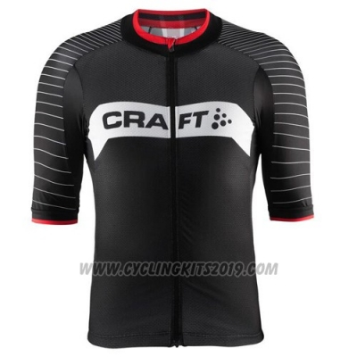 2016 Cycling Jersey Craft Black and White Short Sleeve and Bib Short