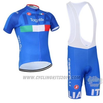 2016 Cycling Jersey Italy White and Blue Short Sleeve and Bib Short