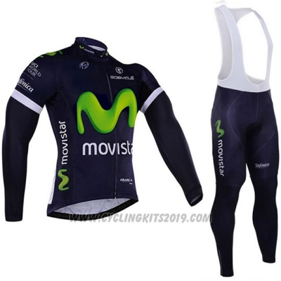 2016 Cycling Jersey Movistar White and Blue Long Sleeve and Bib Tight