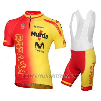 2016 Cycling Jersey Spain Yellow and Red Short Sleeve and Bib Short