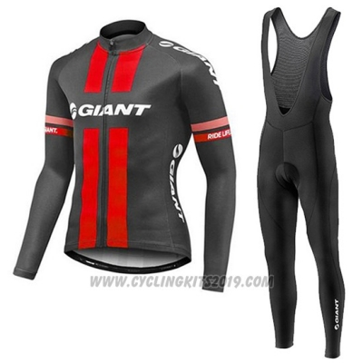 2017 Cycling Jersey Giant Red and Gray Long Sleeve and Bib Tight