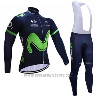 2017 Cycling Jersey Movistar Black Long Sleeve and Bib Tight