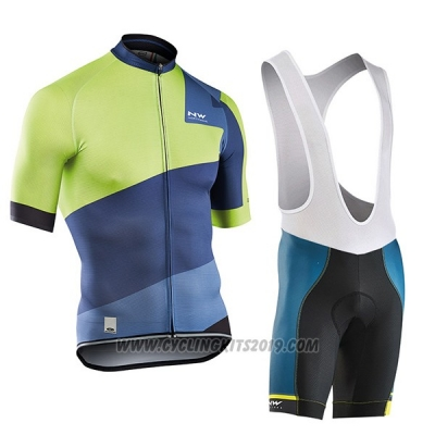2017 Cycling Jersey Northwave Extreme Green and Blue Short Sleeve and Bib Short