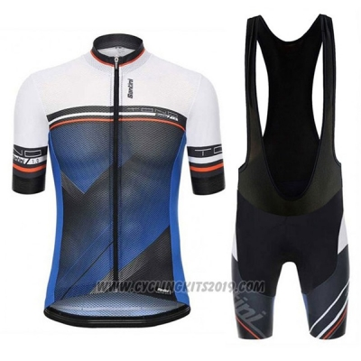 2017 Cycling Jersey Santini Tono Blue and White Short Sleeve and Bib Short