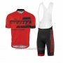2017 Cycling Jersey Scott Red and Black Short Sleeve and Salopette