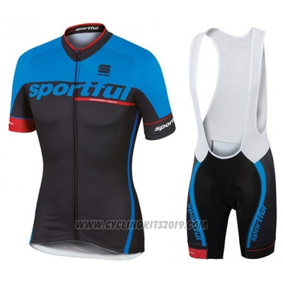 2017 Cycling Jersey Sportful Sc Blue and Black Short Sleeve and Bib Short