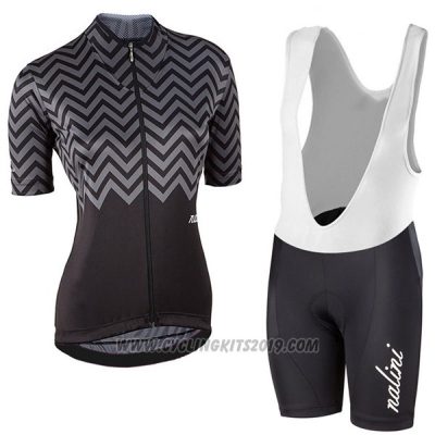 2017 Cycling Jersey Women Nalini Wave Black Short Sleeve and Bib Short