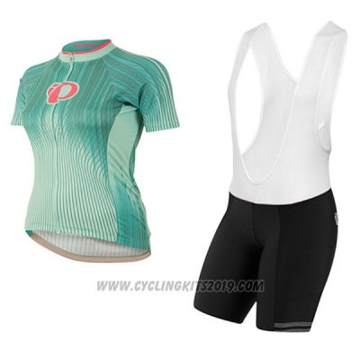 2017 Cycling Jersey Women Pearl Izumi Green and White Short Sleeve and Bib Short