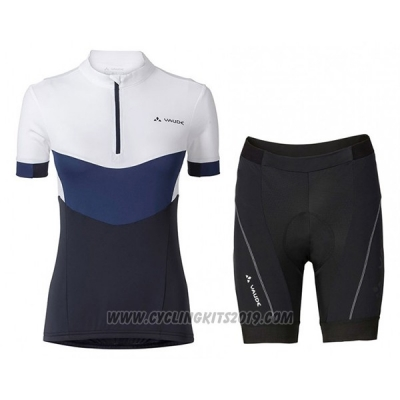 2017 Cycling Jersey Women Vaude White and Blue Short Sleeve and Bib Short