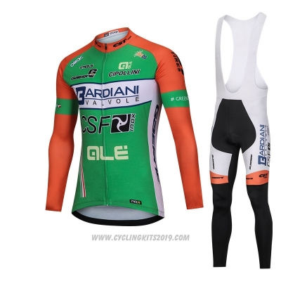 2018 Cycling Jersey Bardiani Csf Green Long Sleeve and Bib Tight