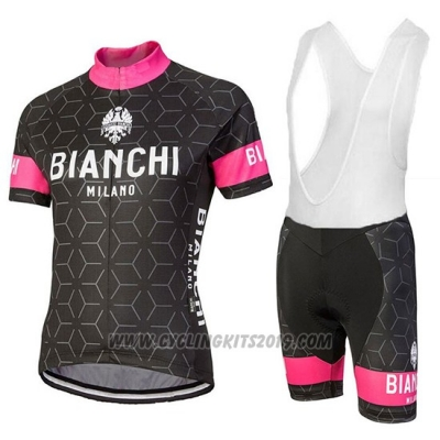 2018 Cycling Jersey Bianchi Nevola Black and Pink Short Sleeve and Bib Short