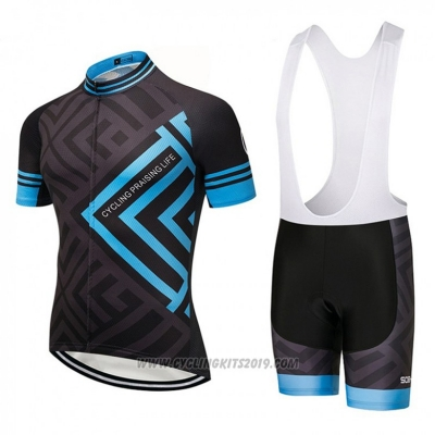 2018 Cycling Jersey CPL Black and Blue Short Sleeve and Bib Short