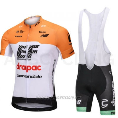 2018 Cycling Jersey Cannondale Drapac White and Orange Short Sleeve and Bib Short