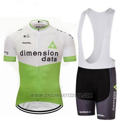 2018 Cycling Jersey Dimension Data White and Green Short Sleeve and Bib Short