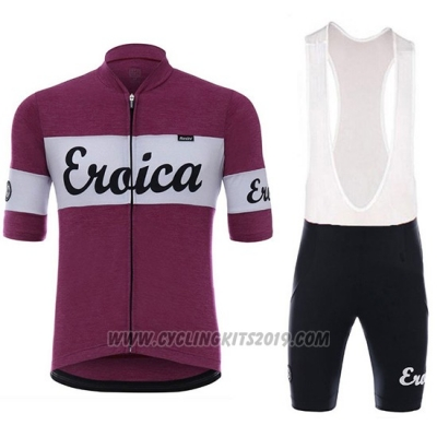 2018 Cycling Jersey Eroica Vino Dark Red Short Sleeve and Bib Short