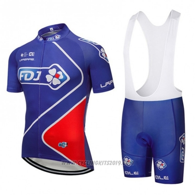 2018 Cycling Jersey FDJ Blue Short Sleeve and Bib Short