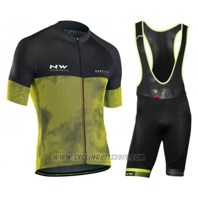 2018 Cycling Jersey Northwave Black Yellow Short Sleeve and Bib Short