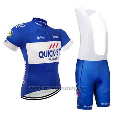 2018 Cycling Jersey Quick Step Floors Blue and White Short Sleeve and Bib Short