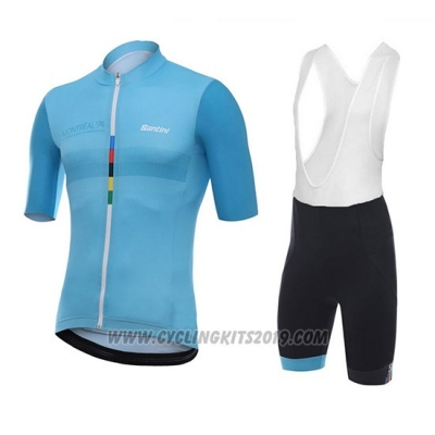 2018 Cycling Jersey Santini Skull Blue Short Sleeve and Bib Short