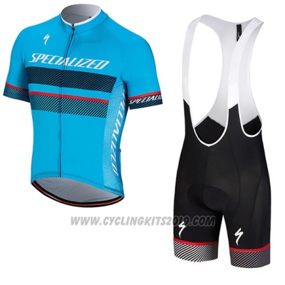 2018 Cycling Jersey Specialized Blue Black Red Short Sleeve and Bib Short