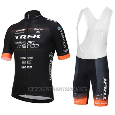 2018 Cycling Jersey Trek Selle San Marco Black Short Sleeve and Bib Short