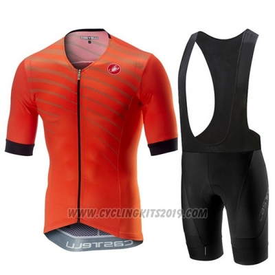 2019 Cycling Jersey Castelli Free Speed Race Orange Short Sleeve and Bib Short